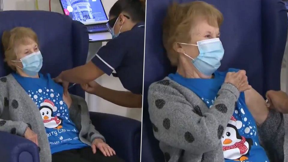 90-year-old woman becomes first to receive Pfizer vaccine in the UK